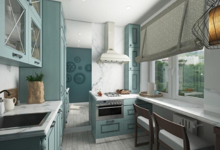 """Дизайн """"хрущевской"""" кухни однозначно требует светлых оттенков, желательно холодных тонов"""