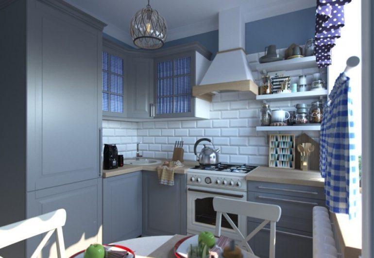 """Кухня в стиле """"прованс"""", оформленная в серо-голубых тонах"""