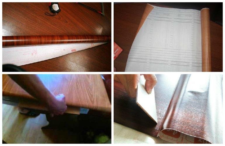 Процесс поклейки пленки на мебельную панель