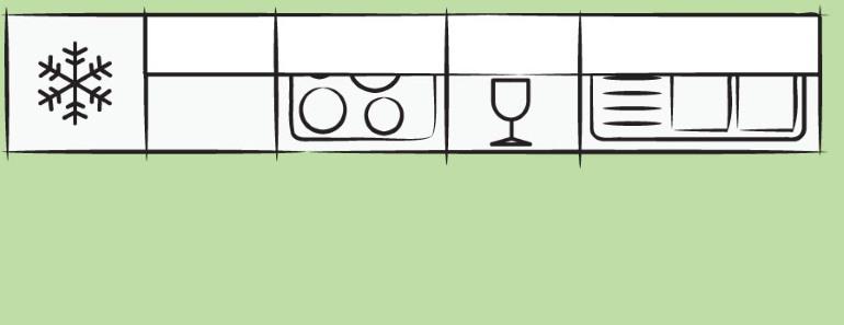 Кухонный гарнитур располагается вдоль одной стены, выглядит сдержанно и не загромождает пространство