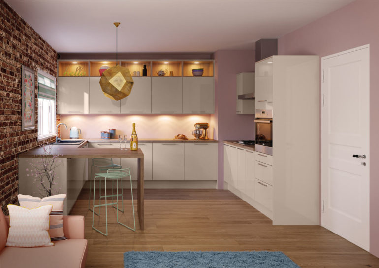 G-образная планировка кухни с помощью барной стойки