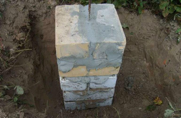 Для деревянной постройки устраивают столбчатый фундамент из кирпича или бетона