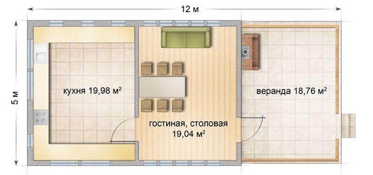 Предлагаемый проект состоит из кухонного помещения, закрытой столовой-гостиной и летней веранды